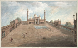 The courtyard and iwan of the Jami Masjid at Delhi